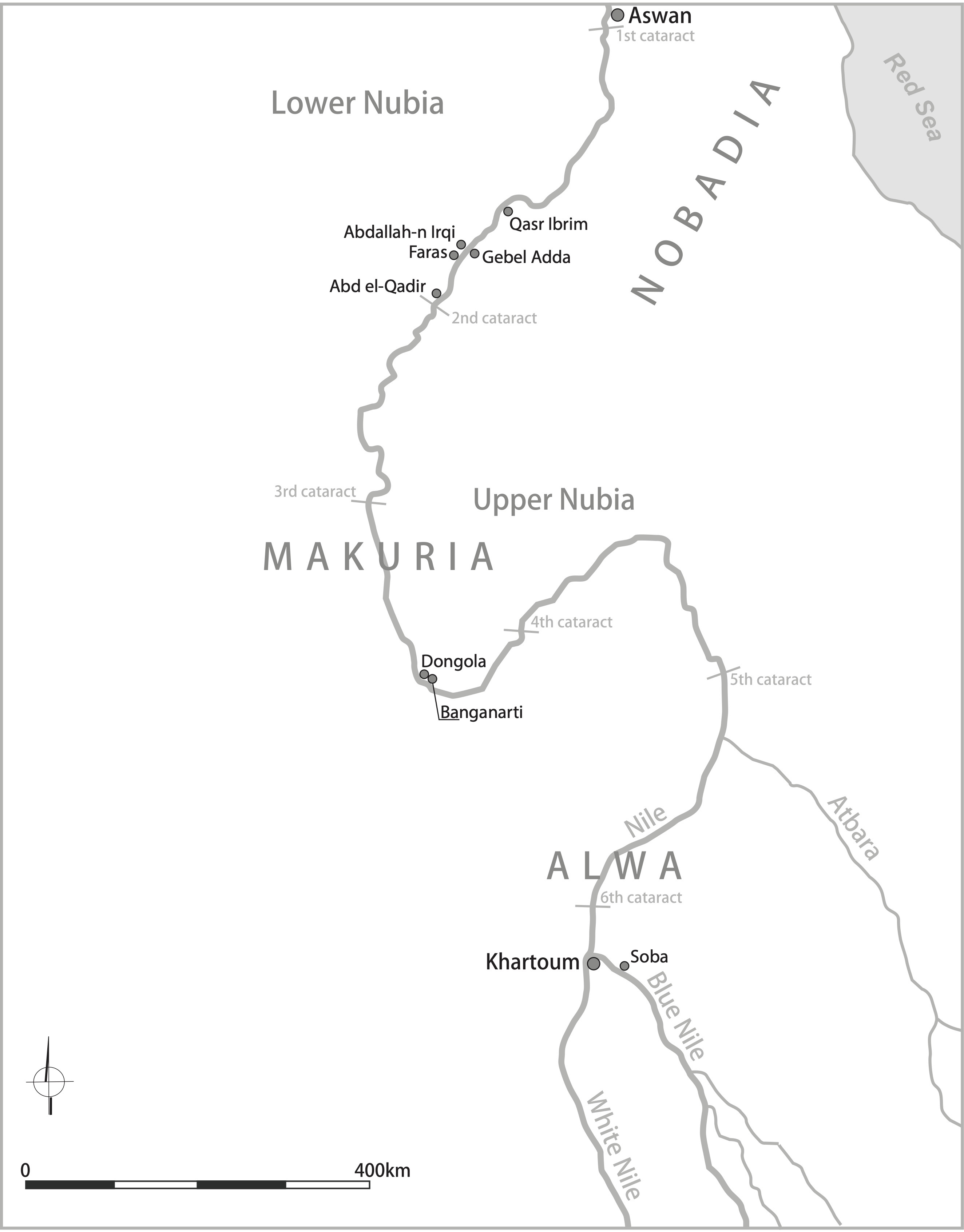 Map of Medieval Nubia
